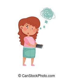 ベクトル, 女の子, イラスト, 学校, 地位, 保有物, smartphone