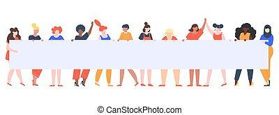 ベクトル, 女の子, チーム, 女性, 女性, 空, 多様, banner., 印, イラスト, グループ, 権利, 若い, プラカード, 保有物, 明示