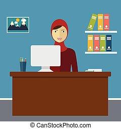 ベクトル, 女の子, muslim, イラスト, オフィス