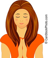 ベクトル, 女性の祈ること, イラスト