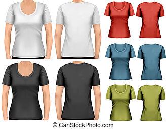 ベクトル, 女性, セット, t-shirts., カラフルである