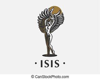ベクトル, 女神, isis., emblem., エジプト人