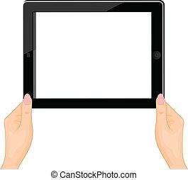 ベクトル, 女, タブレット, -, 隔離された, イラスト, 手, コンピュータ, 背景, 白