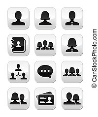 ベクトル, 女, ボタン, セット, ユーザー, 人