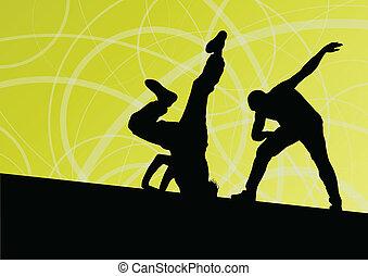 ベクトル, 女, 抽象的, ダンサー, 若い, イラスト, 壊れなさい, シルエット, 通り, 背景, 活動的, 線,...