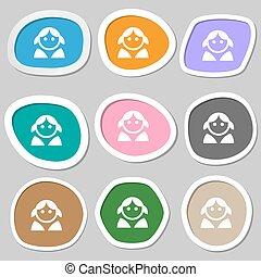 ベクトル, 女, symbols., 人間, 多彩, 女性, ペーパー, ユーザー, 女性, stickers., ログイン, トイレ, アイコン