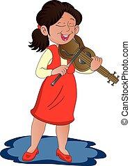 ベクトル, 女, violin., 遊び