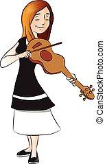 ベクトル, 女, violin., plying