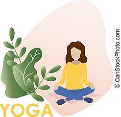 ベクトル, 女, yoga., イラスト, オフィス