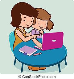ベクトル, 娘, computer., イラスト, 母