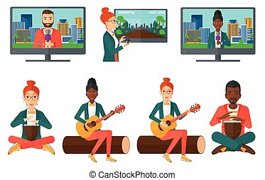 ベクトル, 媒体, musicians., セット, 人々