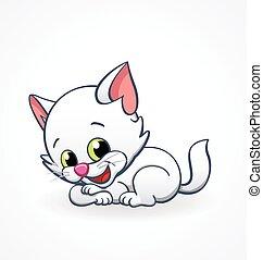 ベクトル, 子ネコ, あること, 漫画, ねこ, 微笑, かわいい