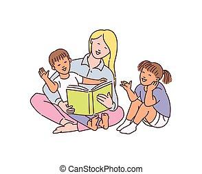 ベクトル, 子供, イラスト, 乳母, 遊び, スケッチ, 漫画, isolated.