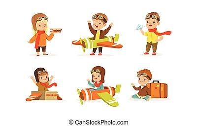 ベクトル, 子供, セット, 衣装, パイロット, 身に着けていること, パイロット, 遊び
