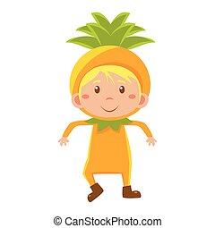 ベクトル, 子供, パイナップル, イラスト, costume.