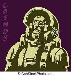 ベクトル, 宇宙飛行士, sketch., illustration.