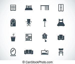 ベクトル, 家具, セット, 黒, アイコン