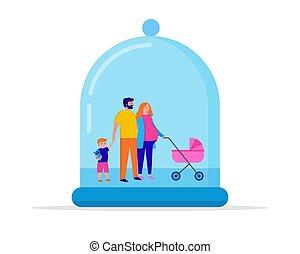 ベクトル, 家, 保護しなさい, 概念, 検疫, あなたの, 区域, 滞在, イラスト, family.