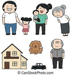 ベクトル, 家, 家族, セット, 自動車