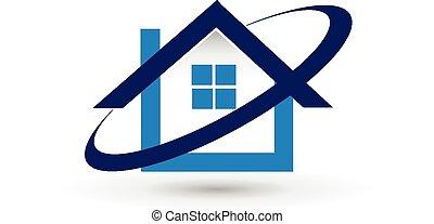ベクトル, 家, 財産, ロゴ, 実質
