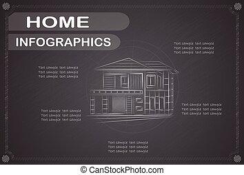 ベクトル, 家, illustration., infographics