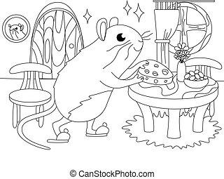 ベクトル, 家, interior., ミンク, マウス, coloring., 子供, 漫画
