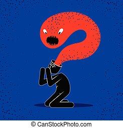 ベクトル, 寓意物語, head., モンスター, 恐怖症, 彼の, 幻覚, 最新流行である, 精神病, スタイル, そのような物, psychical, 精神医学, 心理学, 平ら, 精神分裂症, 人, 概念, 問題, イラスト