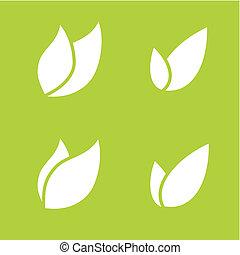 ベクトル, 対, アイコン, 両方とも, イラスト, 葉, 固体