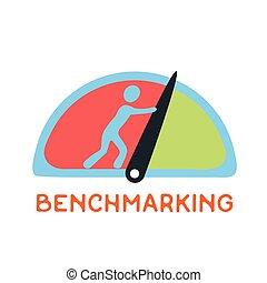 ベクトル, 将官, 表示器, benchmarking, 針, 圧力計, ロゴ, 速度計, ∥あるいは∥, 概念