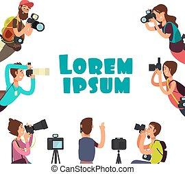 ベクトル, 屋外, 取得, photo., カメラマン, 概念, 写真撮影