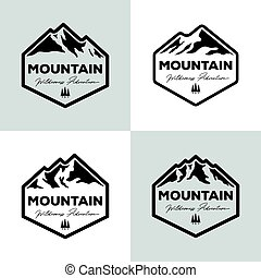 ベクトル, 山, イラスト, 屋外の 冒険, デザイン, セット, ロゴ, 型