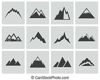 ベクトル, 山, セット, 黒, アイコン