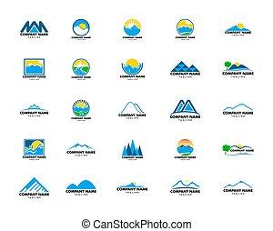 ベクトル, 山, ロゴ, セット, テンプレート, デザイン