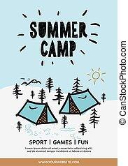 ベクトル, 岩が多い, 夏, テント, poster., 山, 背景, illustration., 森林, キャンプ,...