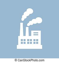 ベクトル, 工場, pictogram