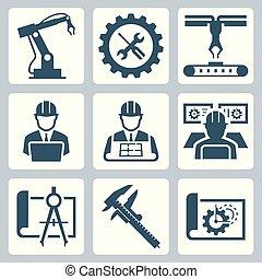 ベクトル, 工学, セット, 製造, アイコン