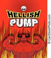 ベクトル, 巨大, muscles., purgatory., すごく, pump., 試し, ポンプ, イラスト, ...