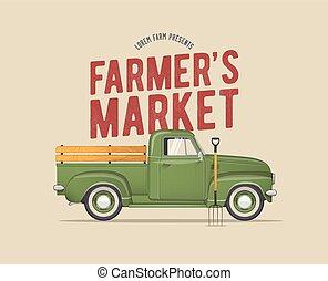 ベクトル, 市場, ピックアップ, スタイルを作られる, 型, 古い, 農夫, トラック, 学校, イラスト, ...