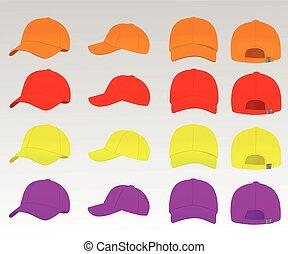 ベクトル, 帽子, セット, 野球, カラフルである
