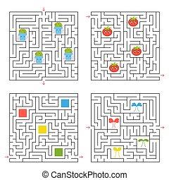 ベクトル, 平ら, すべて, セット, illustration., 単純である, 興味を起こさせること, 4, 集めなさい, ゲーム, 広場, labyrinths., 方法, 項目, children., maze., ファインド, から