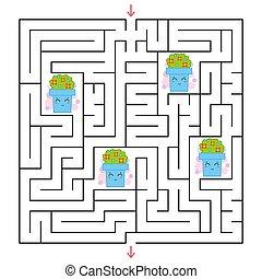 ベクトル, 平ら, すべて, 広場, illustration., labyrinth., 単純である, 興味を起こさせること, ポット, 集めなさい, ゲーム, 花, 方法, children., maze., ファインド, から