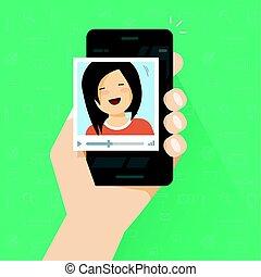 ベクトル, 平ら, を経て, 技術, プレーヤー, 可動的なコミュニケーション, 呼出し, 電話, smartphone, 呼出し, ビデオ, 女の子, 漫画, 携帯電話