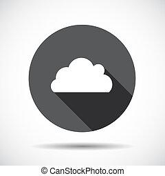 ベクトル, 平ら, アイコン, 雲, shadow., 長い間, illustration.