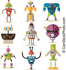 ベクトル, 平ら, スタイル, セット, ロボット, 隔離された, 背景, 白