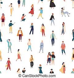 ベクトル, 平ら, スタイル, 男性, 話し。, カラフルである, women., 流行, パターン, 人々, seamless, 写真, 衣装, 織物, 歩くこと, ポーズを取る, イラスト, 流行, 地位, 背景, print.