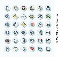ベクトル, 平ら, セット, アウトライン, アイコン, 色, symbols., 薄くなりなさい, フィットネス, 線, スポーツ