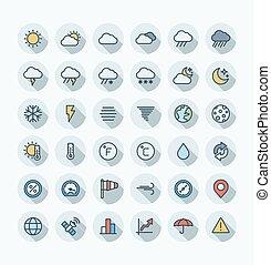 ベクトル, 平ら, セット, アウトライン, アイコン, 色, symbols., meteo, 薄くなりなさい, 天候, 線
