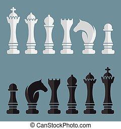 ベクトル, 平ら, セット, チェス, アイコン