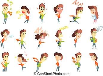 ベクトル, 平ら, セット, 喜び, 恐れ, 男の子, 混乱, 提示, 思いやりがある, 幸福, 横柄,...