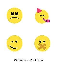 ベクトル, 平ら, セット, 幸せ, elements., 顔, まばたき, やぶにらみの目で, 含む, 静けさ, また, 他, 時間, パーティー, objects., 顔, emoticon, emoji, アイコン